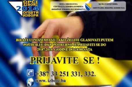 REGISTRIRANJE BIRAČA IZ INOZEMSTVA ZA GLASOVANJE NA OPĆIM IZBORIMA 2014.